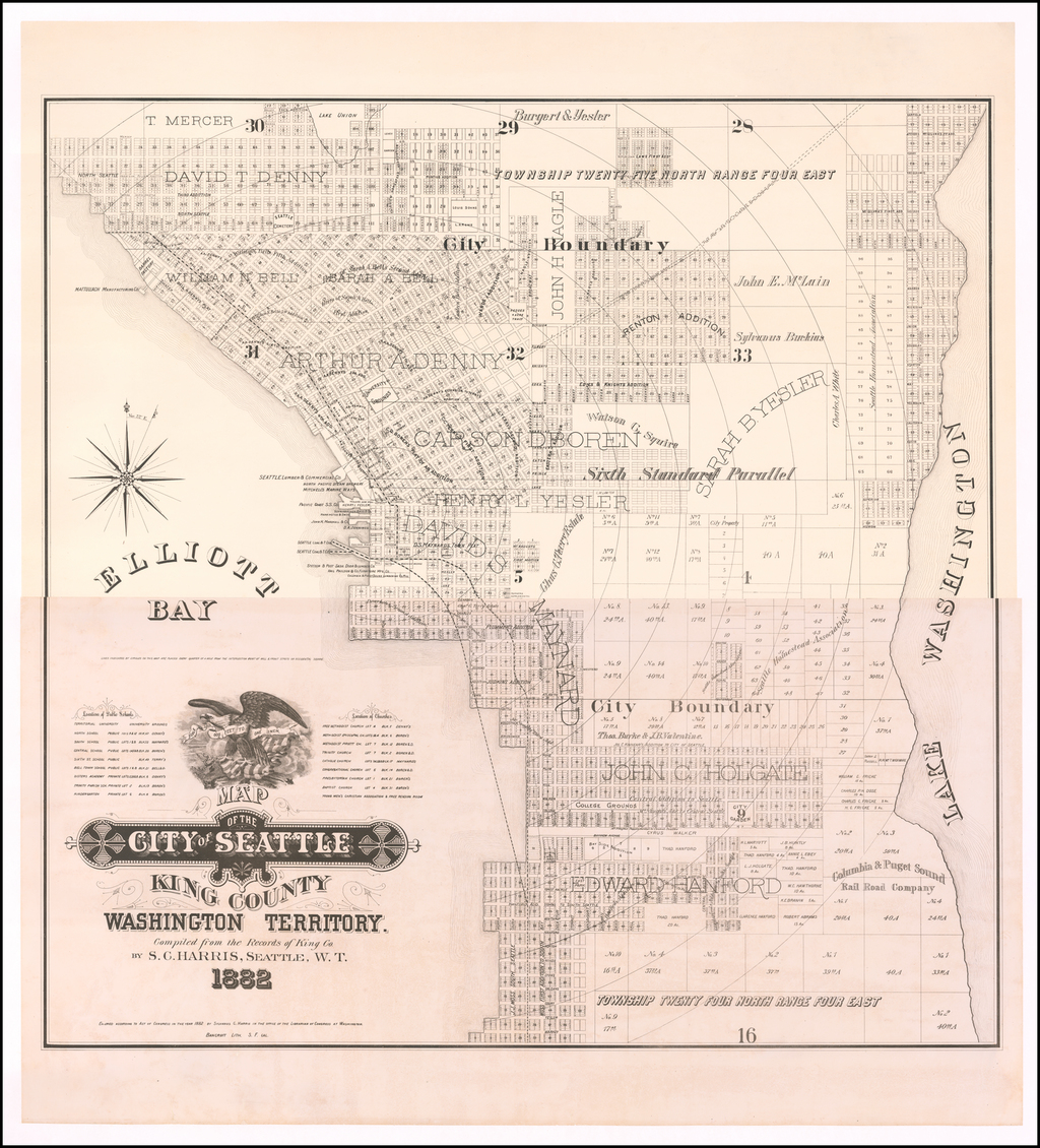 Map of the City of Seattle King County Washington Territory.  Compiled from the Records of King Co. By S.C. Harris, Seattle, W.T. 1882. By Sylvanus C. Harris