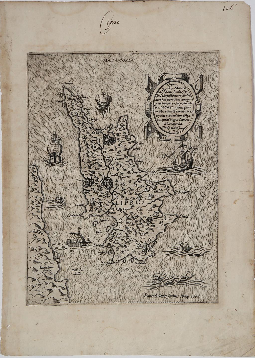 Cyprus, que olim (Macaria) id est Beata, Insula est in sinu Carpatij maris sita Veneri fuit sacra . . . 1570 By Paolo Forlani