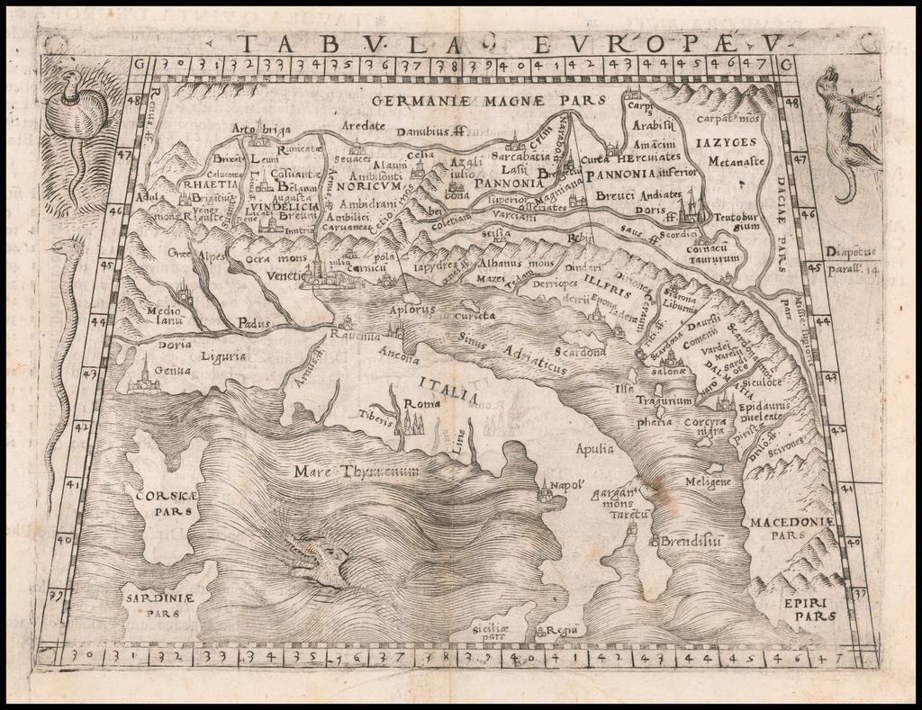 [Balkans / Adriatic / Italy] Tabula Europae V By Giacomo Gastaldi