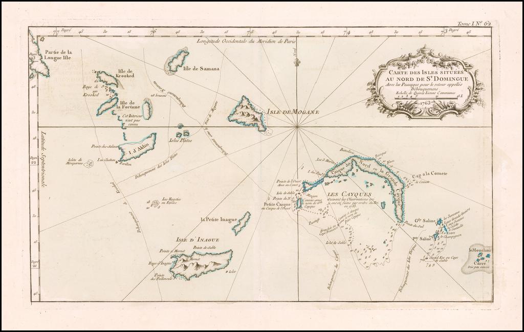 (Turks & Caicos) Carte des Isles Situees au Nord De St. Domingue Avec les Passages . . . By Jacques Nicolas Bellin