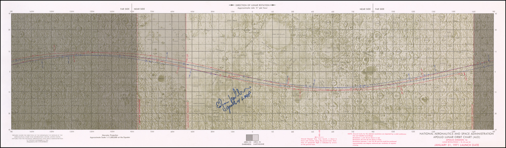 [Signed By Edgar Mitchell]  Apollo 14 Lunar Orbit Chart . . . January 31, 1971 Launch Date By NASA