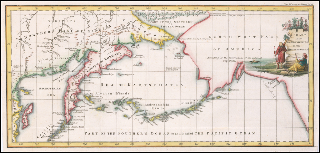 Chart of the New Discoveries in the Northern Ocean  1781 By John Cary