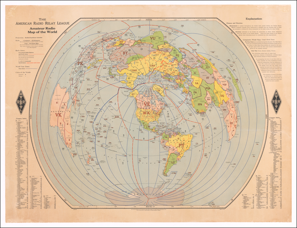 The American Radio Relay League Amateur Radio Map of the World By Rand McNally & Company
