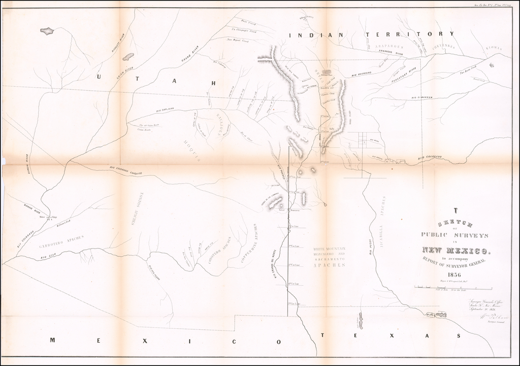 Sketch of Public Surveys in New Mexico to Accompany Report of Surveyor General 1856 By U.S. State Surveys