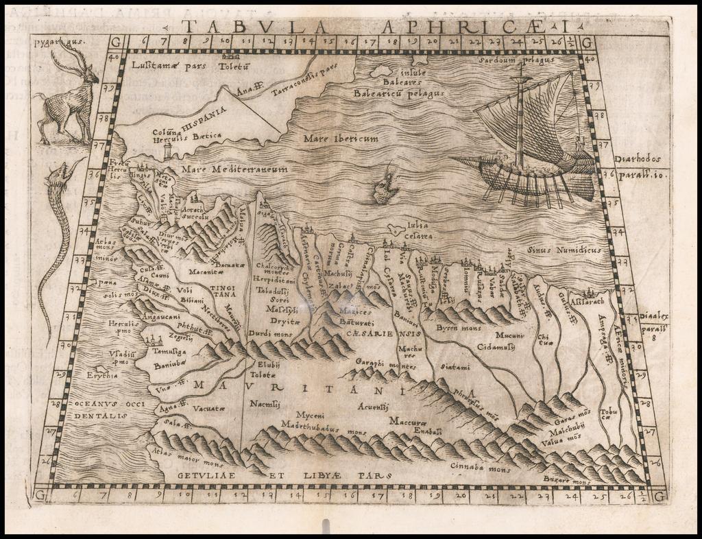 Tabula Aphricae I (Morocco & Southeast Spain) By Giacomo Gastaldi