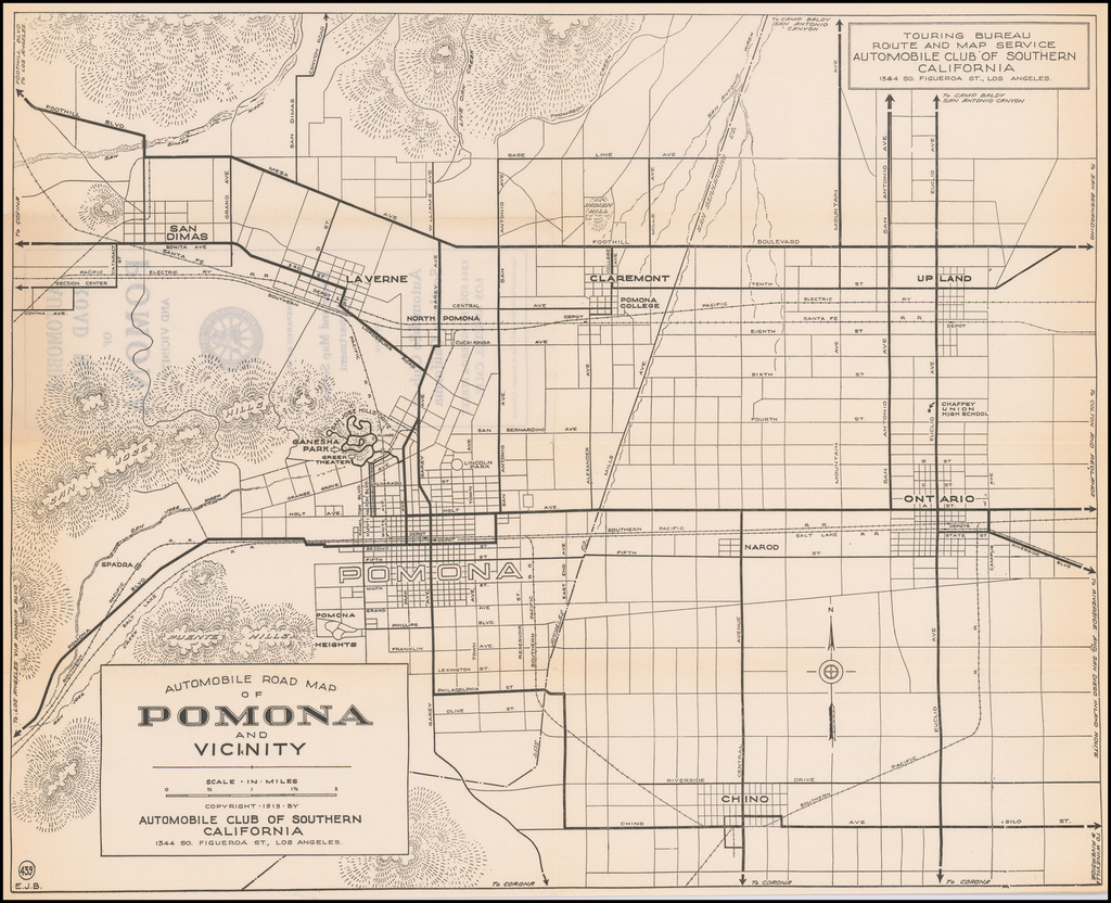 Automobile Road Map of Pomona and Vicinity By Automobile Club of Southern California