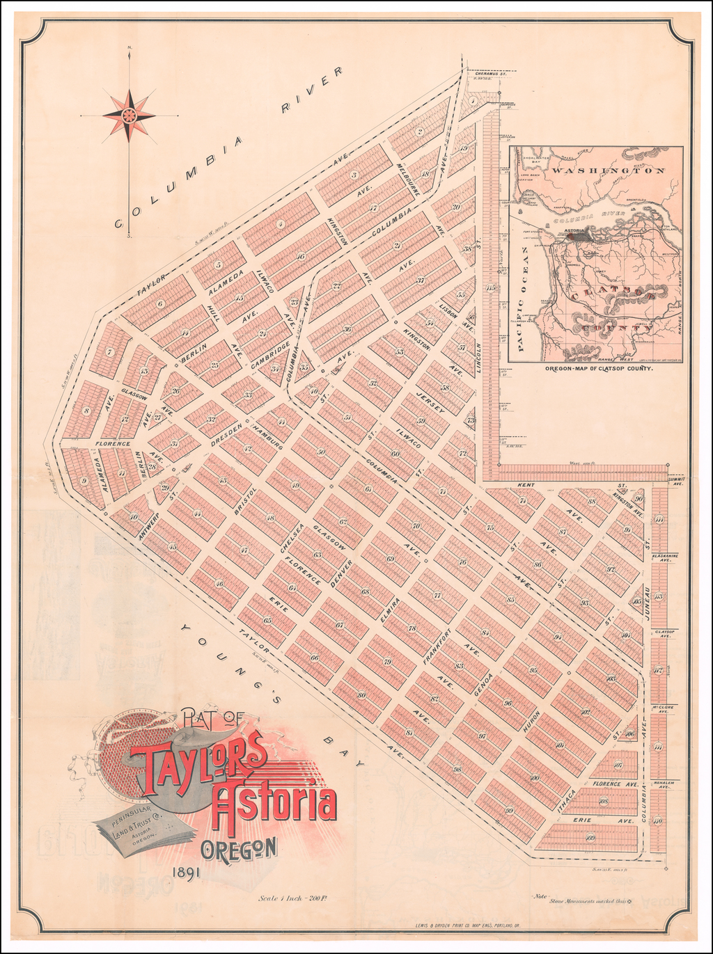 Plat of Taylors Astoria Oregon  Peninsular Land & Trust Co. . . .  1881 By Lewis & Dryden Print Co. Map Eng's