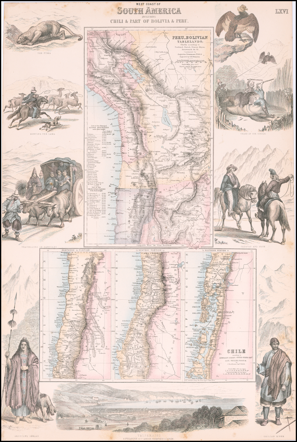 West Coast of South America Including Chili & Part of Bolivia & Peru By Archibald Fullarton & Co.