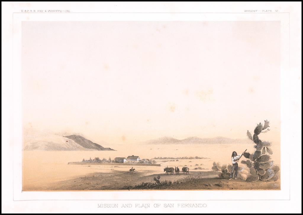 (San Fernando Valley) Mission and Plain of San Fernando By U.S. Pacific RR Survey