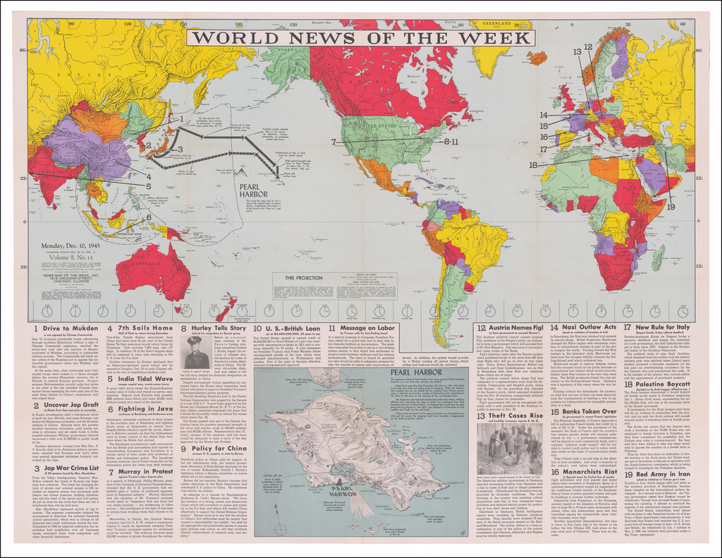 [World Map - Pearl Harbor]  World News of the Week, Monday December 10, 1945 By News Map of the Week Inc.