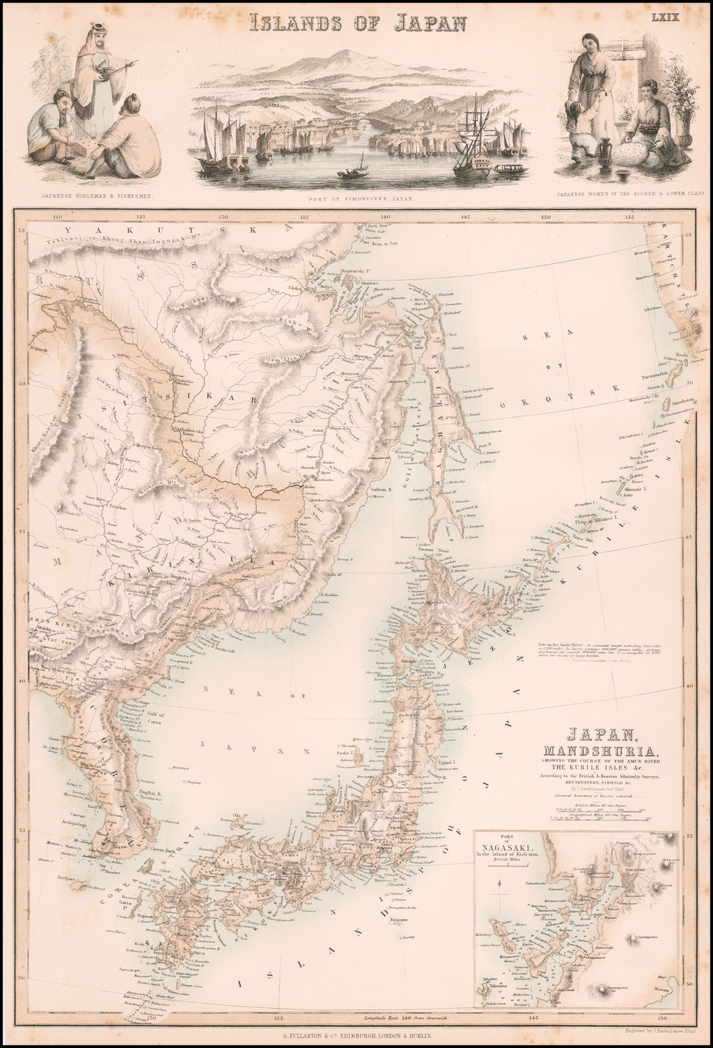 Japan, Mandshuria (Showing The Course of the Amur River) The Kurile Isles &c. Accroding to the British & Russian Admiralty Surveys, Krusenstern, Siebold &c. By Archibald Fullarton