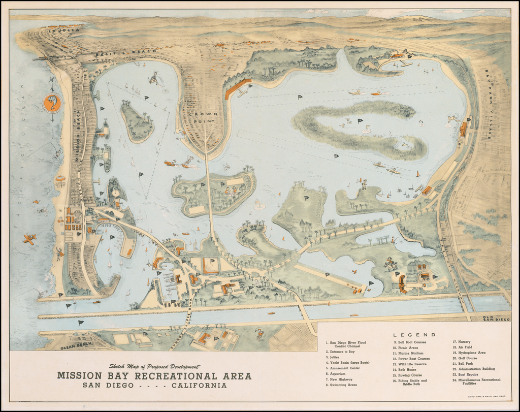 Sketch Map of the Proposed Development  Mission Bay Recreational Area San Diego - - - - California By Frye & Smith