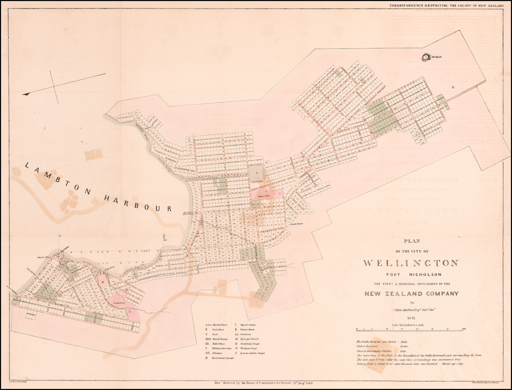Plan of the City of Wellington Port Nicholson The First & Principal Settlement of the New Zealand Company by Felton Mathew Esqre. Survr. Genl. 1841. By Felton Mathew