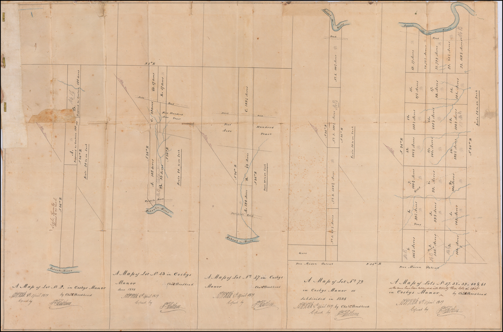 [Mohawk River, New York] (Two manuscript maps of Cosbys Manor, Mohawk River, with other documents related to the same.) By John Ludlam
