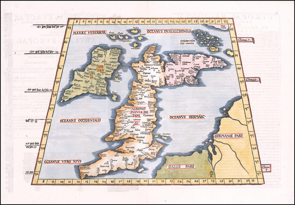 (British Isles) (Tabula. I. Europae) By Lorenz Fries