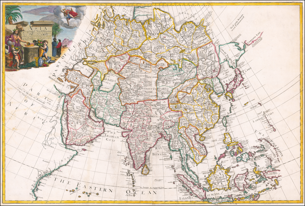 Asia According to ye Newest Observations By C. Price Geographer to ye Queen, Sold by T. Brandreth & G. Willdey at ye Archimedes & Globe in Ludgate Street & at yet same sign over agt. ye Royal Exchange in Cornhill, where area made & sold all sorts of Globes & Maps &c. By Charles Price