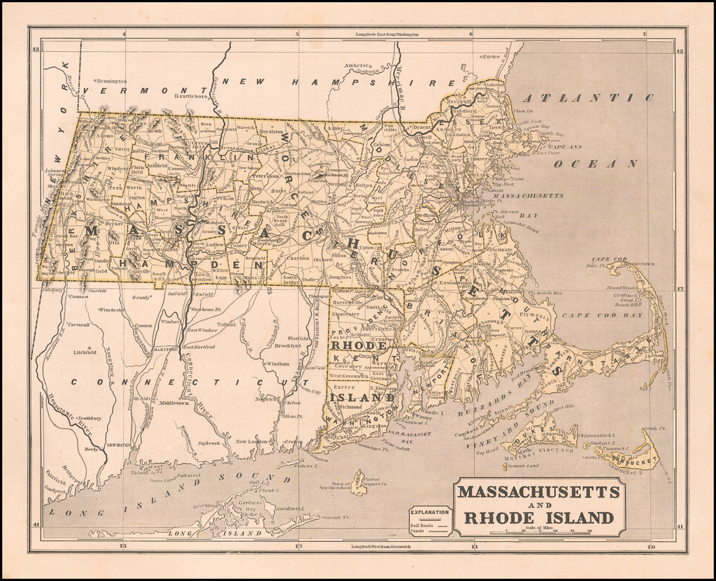 Massachusetts and Rhode Island By Sidney Morse  &  Samuel Breese