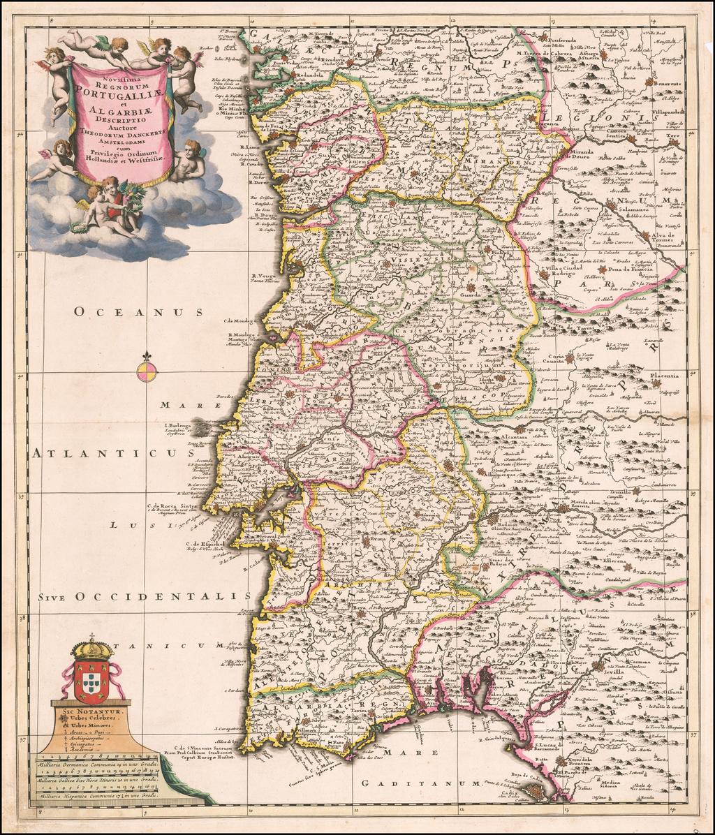 Novissima Regnorum Portugalliae et Algarbiae Descriptio Acutore Theodroum Danckerts…. By Theodorus I Danckerts