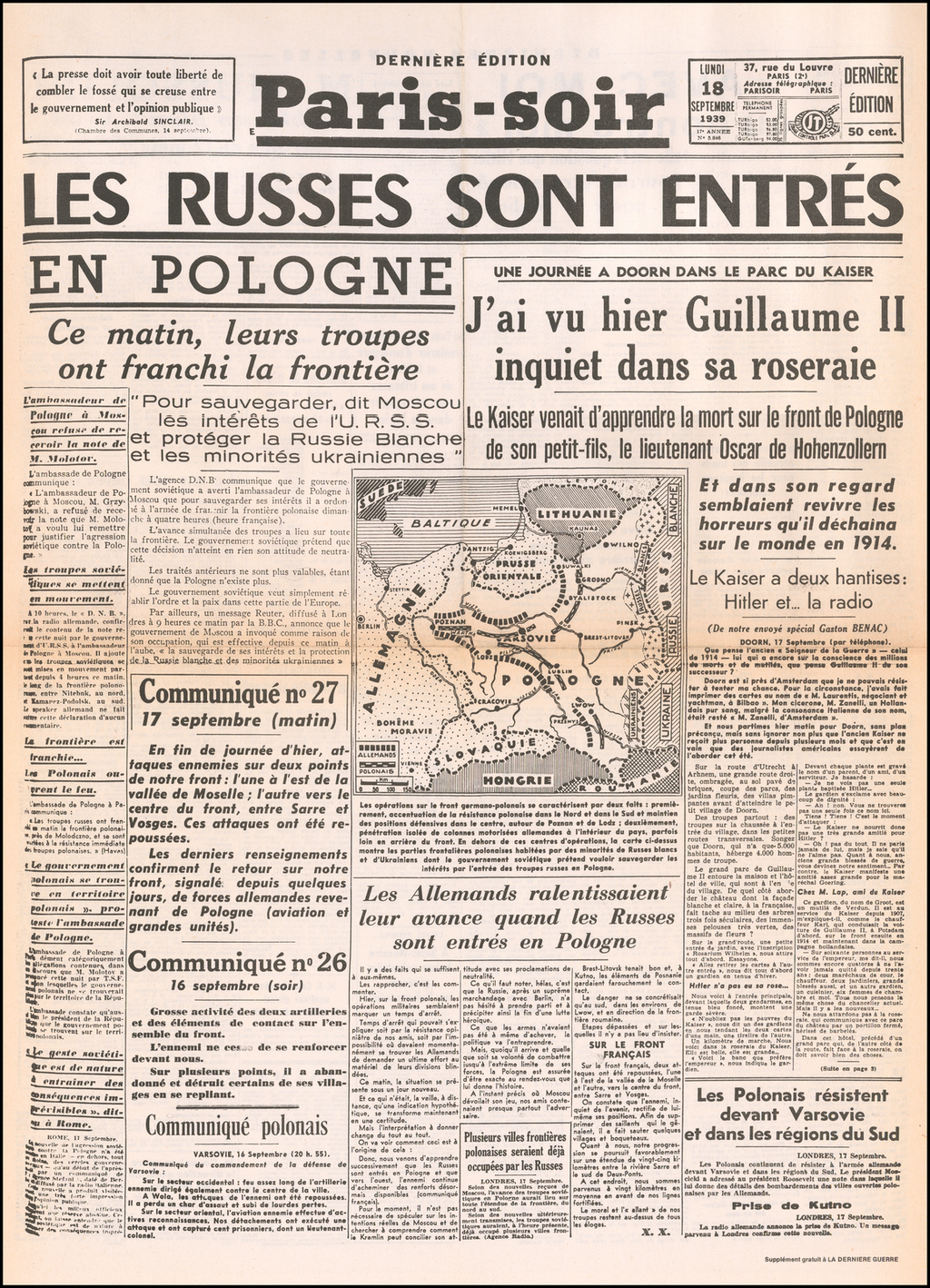 [Russia Takes Poland -- September 18, 1939] By Paris-soir