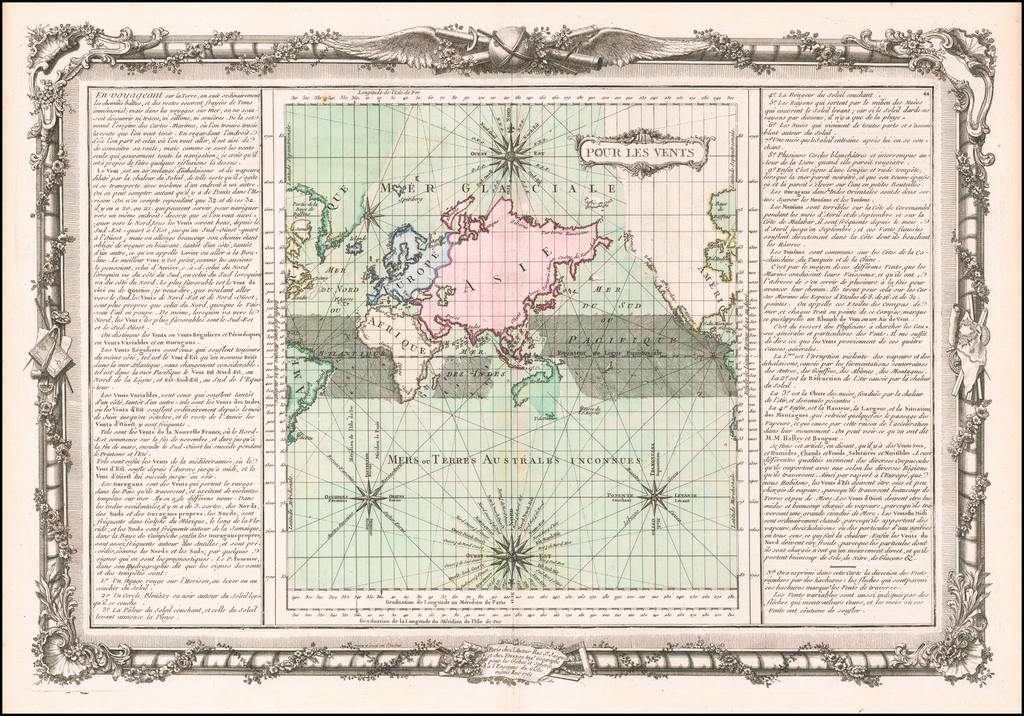 Pour Les Vents [world map centered on Asia] By Buy de Mornas