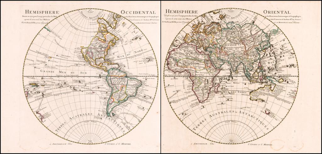 Hemisphere Occidental . . .  [and] Hemisphere Orientale Dresse en 1720 pour l'usage particulier du Roy sur les Observations Astronomiques et Geographiques . . .  By Johannes Covens  &  Pieter Mortier