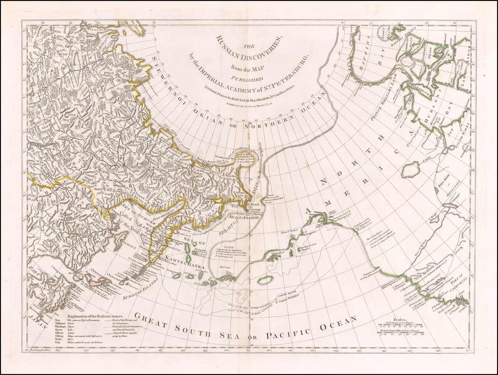 The Russian Discoveries, from the Map Published by the Imperial Academy of St. Petersburg . . . 1775 By Robert Sayer