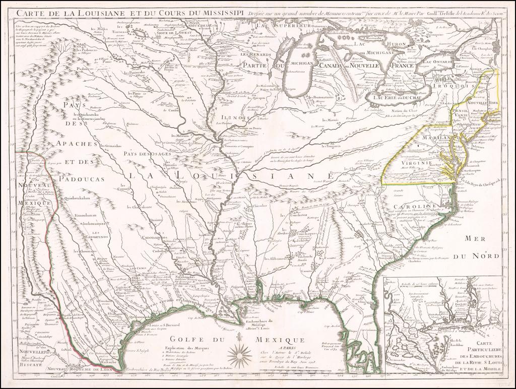 Carte De La Louisiane Et Du Cours Du Mississipi . . .  Juin 1718  [1st State!] By Guillaume De L'Isle