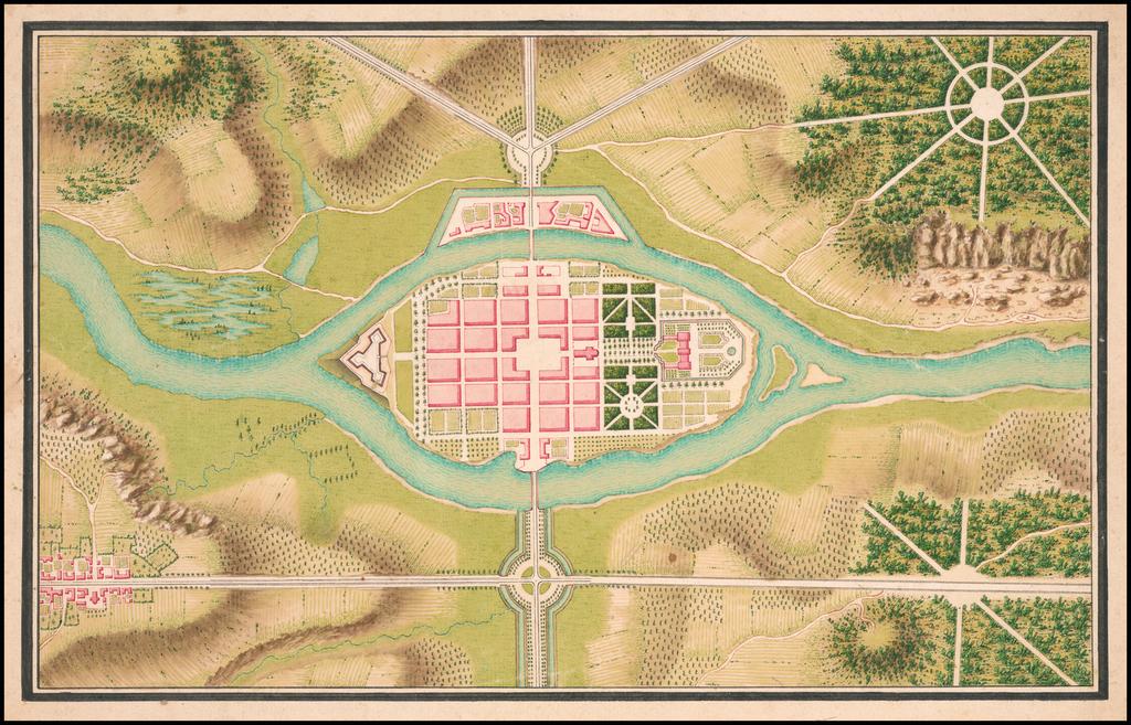 Carte Selon la Convention faite Par Mr De Lancelles tres bon dessinateur des pont et chauses. 1770 By De Lancelles