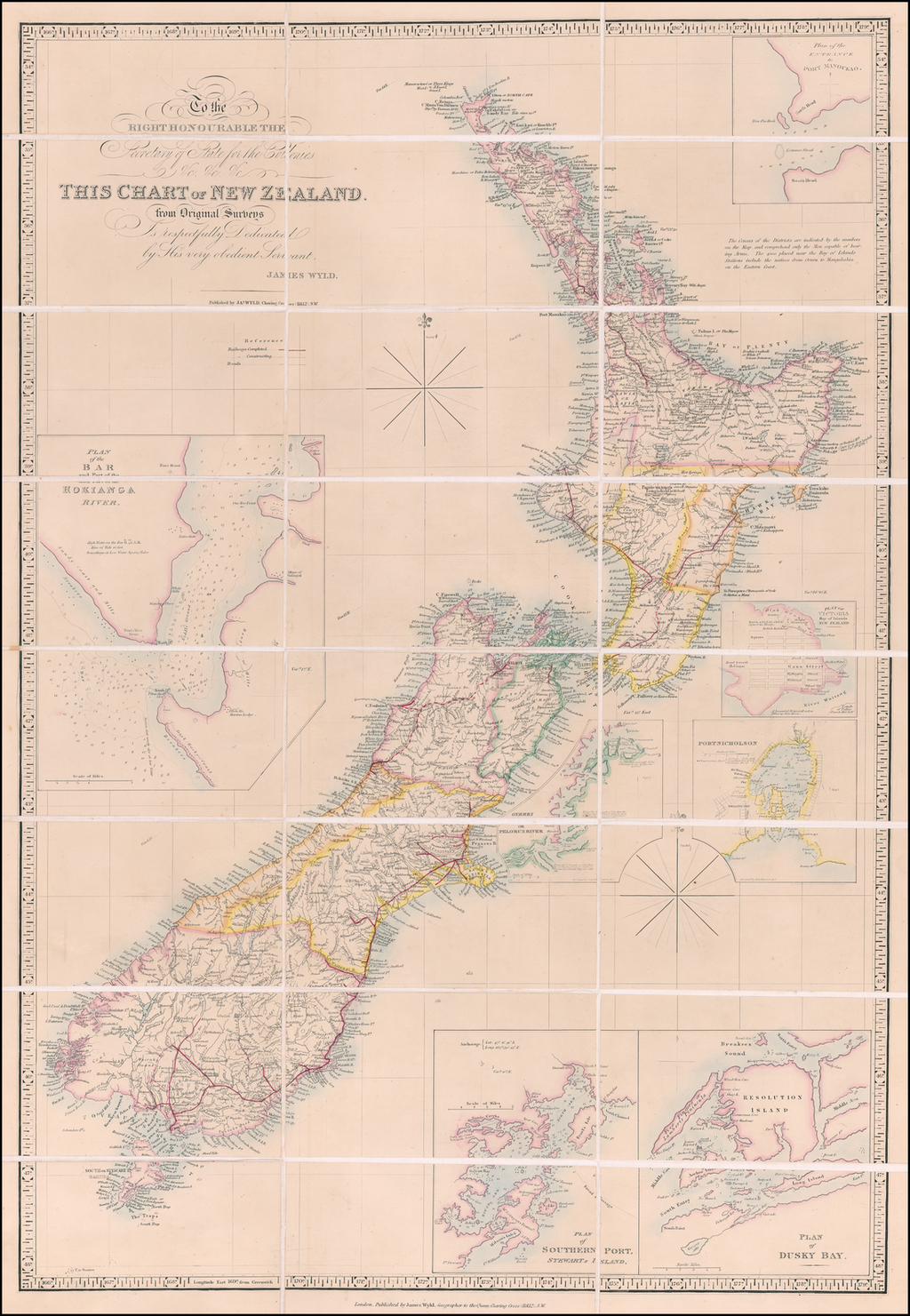 To the Right Honourable The Secretary of State for the Colonies &c. &c. &c.  This Chart of New Zealand, from Original Surveys Is respectfully Dedicate by his very obdient Servant, James Wyld. By James Wyld