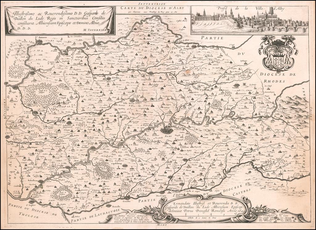 Carte Du Diocese D'Alby par Tavernier . . .  By Melchior Tavernier