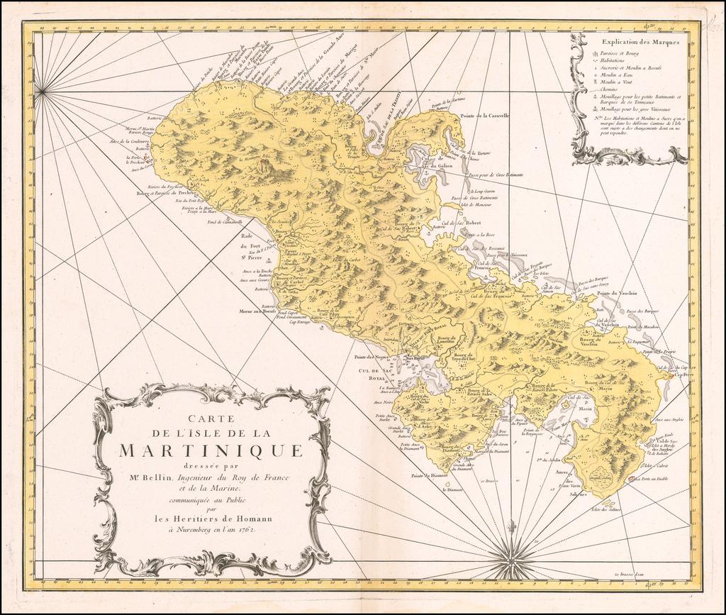 Carte de L'Isle de la Martinique dressee par Mr. Bellin, Ingenieur du Roy de France et de la Marine . . . 1762 By Homann Heirs