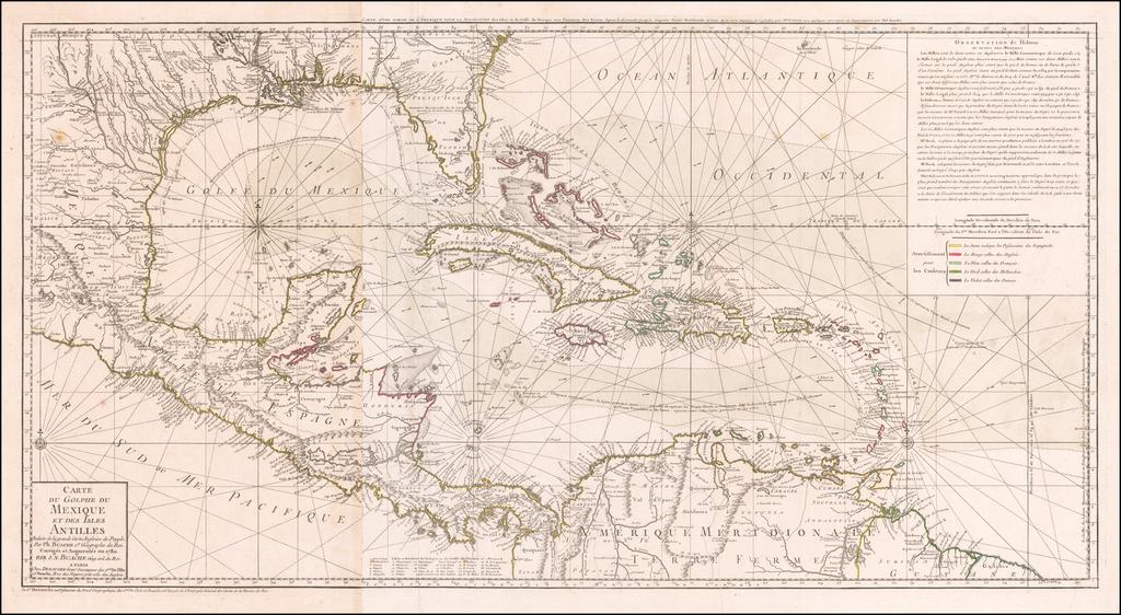 Carte Du Golphe Du Mexique Et Des Isles Antilles Reduite de la grande carte Angloise de Popple, Par PH. Buache …1780. By Philippe Buache  &  Jean André Dezauche