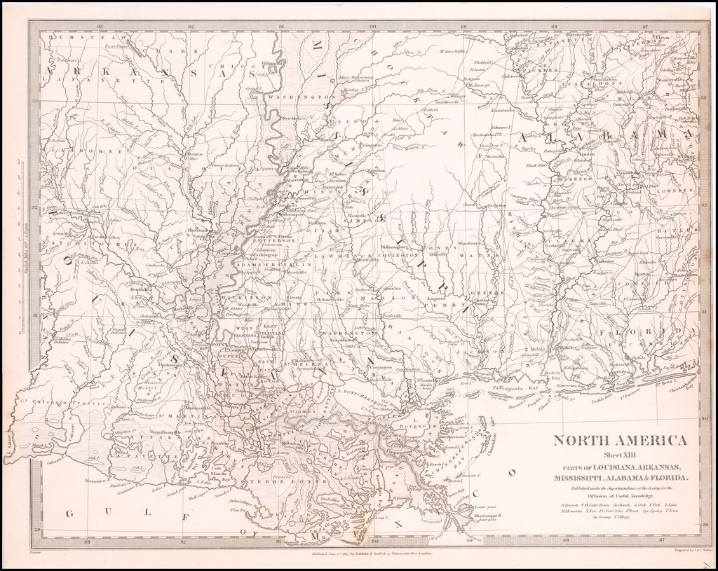 North America Sheet XIII Parts of Louisiana, Arkansas, Mississippi, Alabama & Florida By SDUK