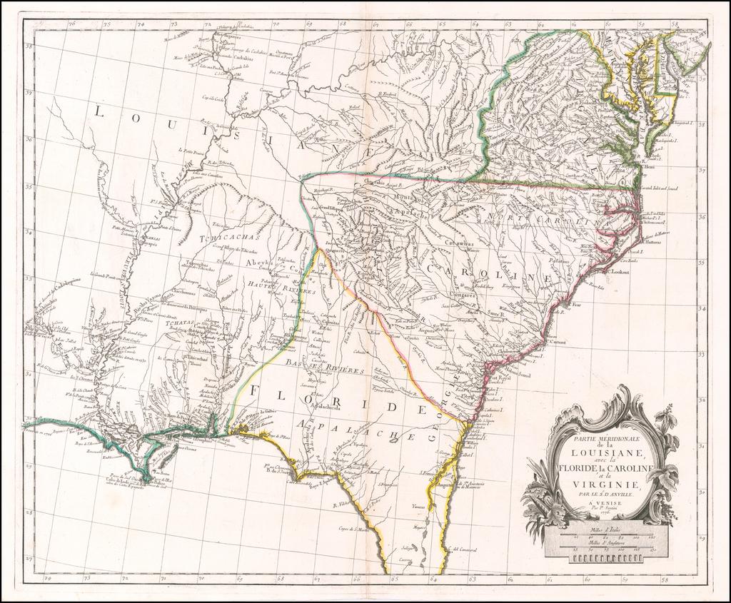 Partie Meridionale de la Louisiane, avec la Floride, la Caroline et la Virginie, Par Le Sr. D'Anville . . . 1776 By Paolo Santini