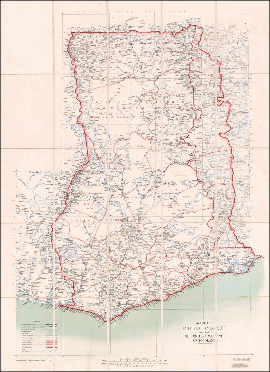 Map of the Gold Coast including the British Mandate of Togoland . . . Additions and Corrections 1921. By War Office