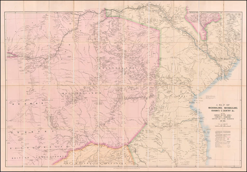 A Map of Mashonaland, Matabeliland, Khama's Country &c.  The British South Africa Company's Territory South of the Zambesi 1893. By Edward Stanford