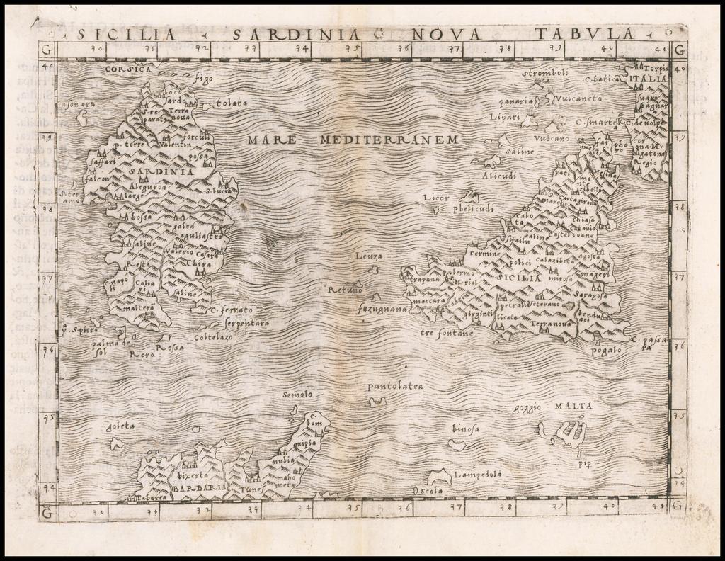 Sicilia Sardinia Nova Tabula (with Malta) By Giacomo Gastaldi