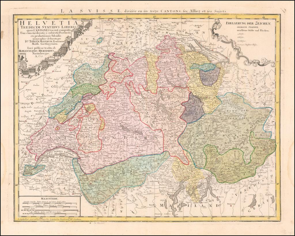 Helvetia Tredecim Statibus Liberis quos Cantones . . . 1751 By Johann Baptist Homann