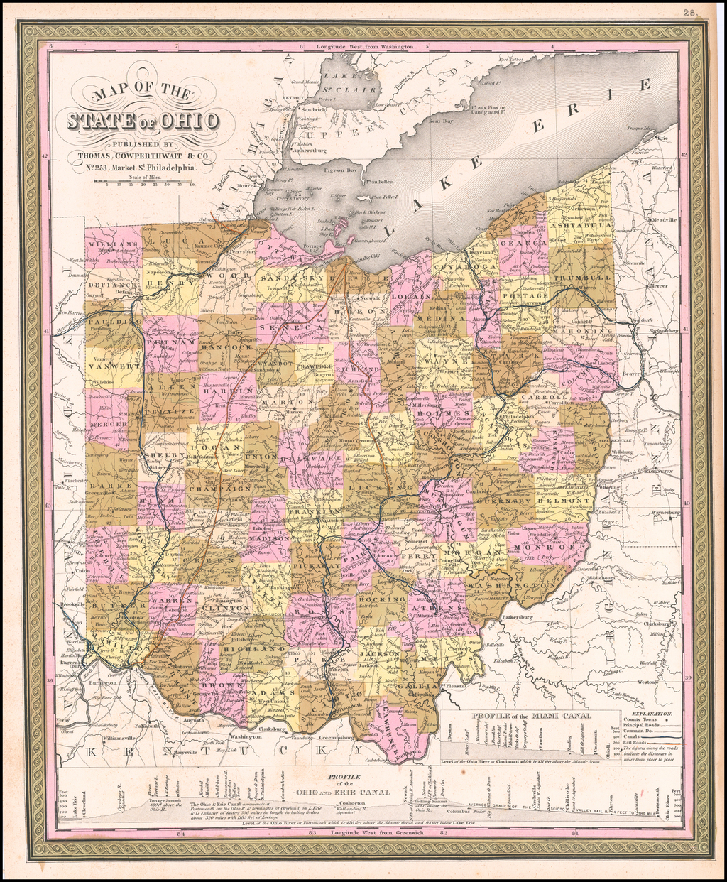 Map Of The State of Ohio . . . By Thomas, Cowperthwait & Co.