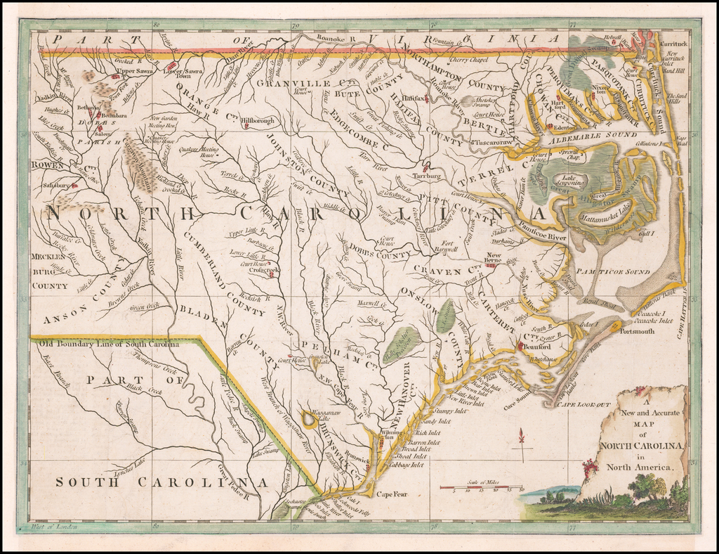 A New and Accurate Map of North Carolina in North America By Universal Magazine