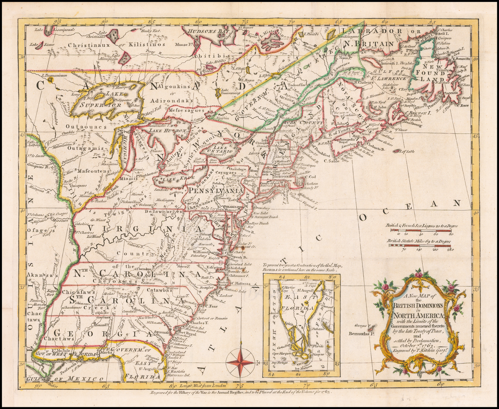 A New Map of the British Dominions in North America; with the Limits of the Governments annexed thereto by the late Treaty of Peace and settled by Proclamation of October 7th, 1763. By Thomas Kitchin