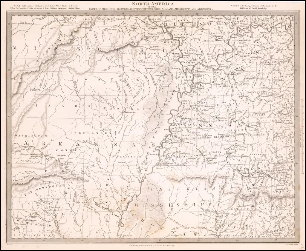 North America Sheet X Parts of Missouri, Illinois, Kentucky, Tennessee, Alabama, Mississippi and Arkansas By SDUK