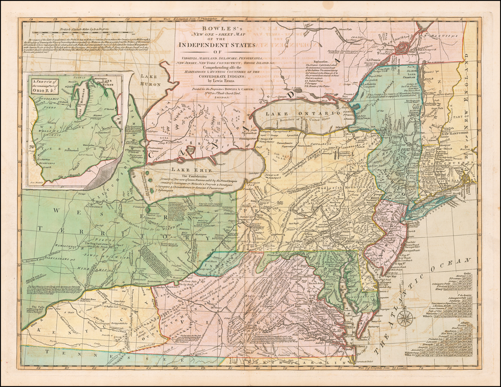 Bowles's New One-Sheet Map of the Independent States of Virginia, Maryland, Delaware, Pensylvania, New Jersey, New York, Connecticut & Rhode Island. &c. Comprehending also the Habitation & Hunting Countries of the Confederate Indians;  by Lewis Evans. By Carrington Bowles  &  Lewis Evans