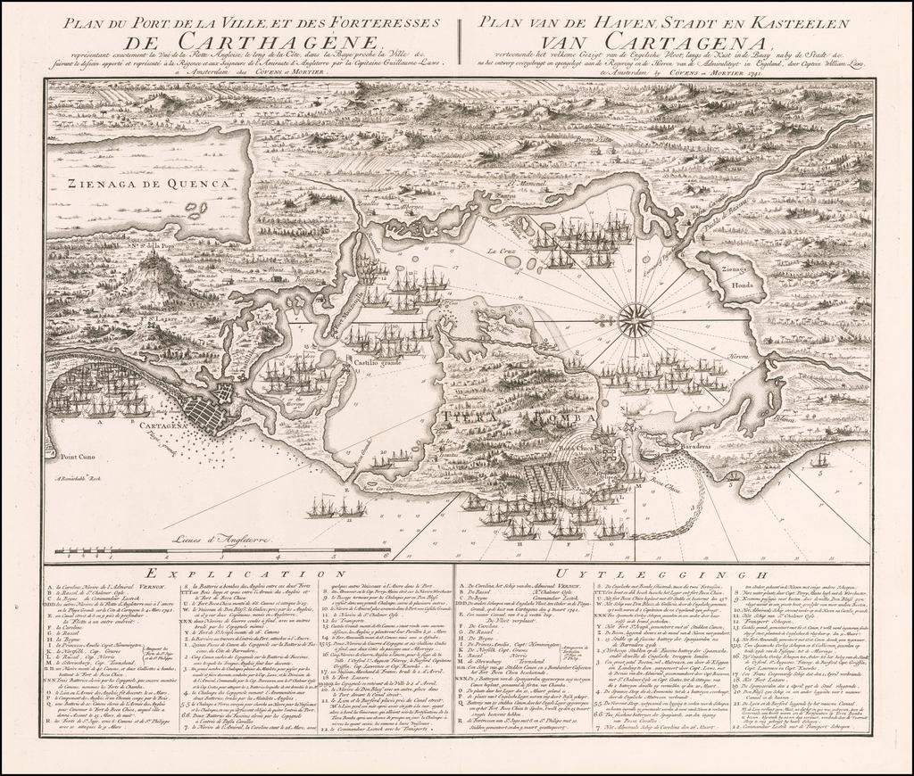 Plan du Port de la Ville, et des Forteresses de Carthagene... Plan van... Cartagena. By Covens & Mortier