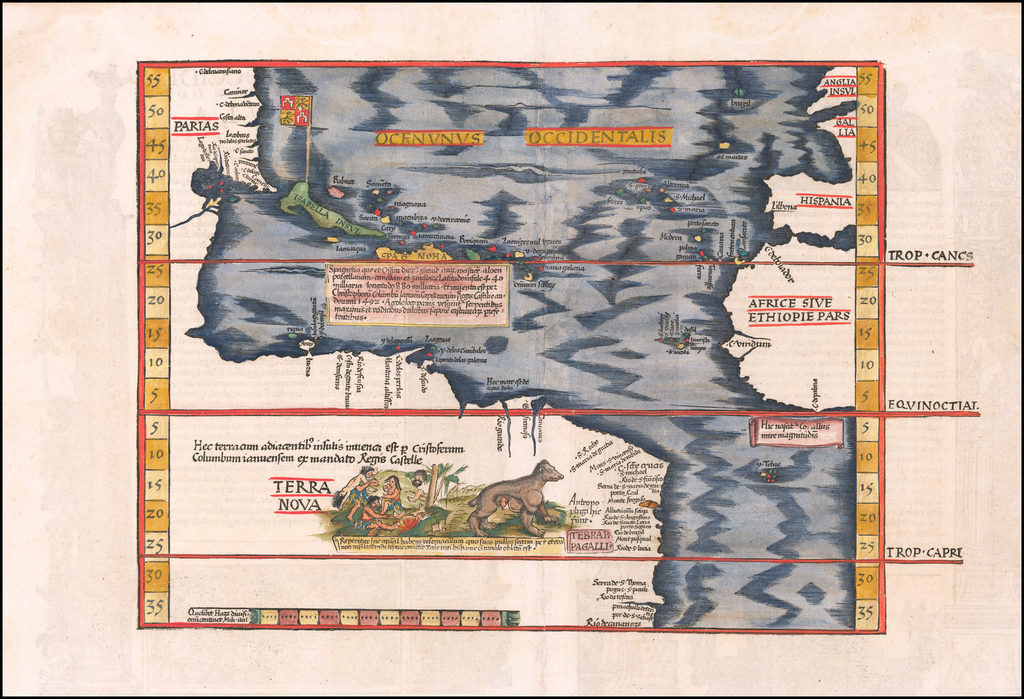 Oceani occidetalis Seu Terre Noue Tabula Christophorus Columbus natione Italus, patria Genuensis  [The Admiral's Map] By Lorenz Fries