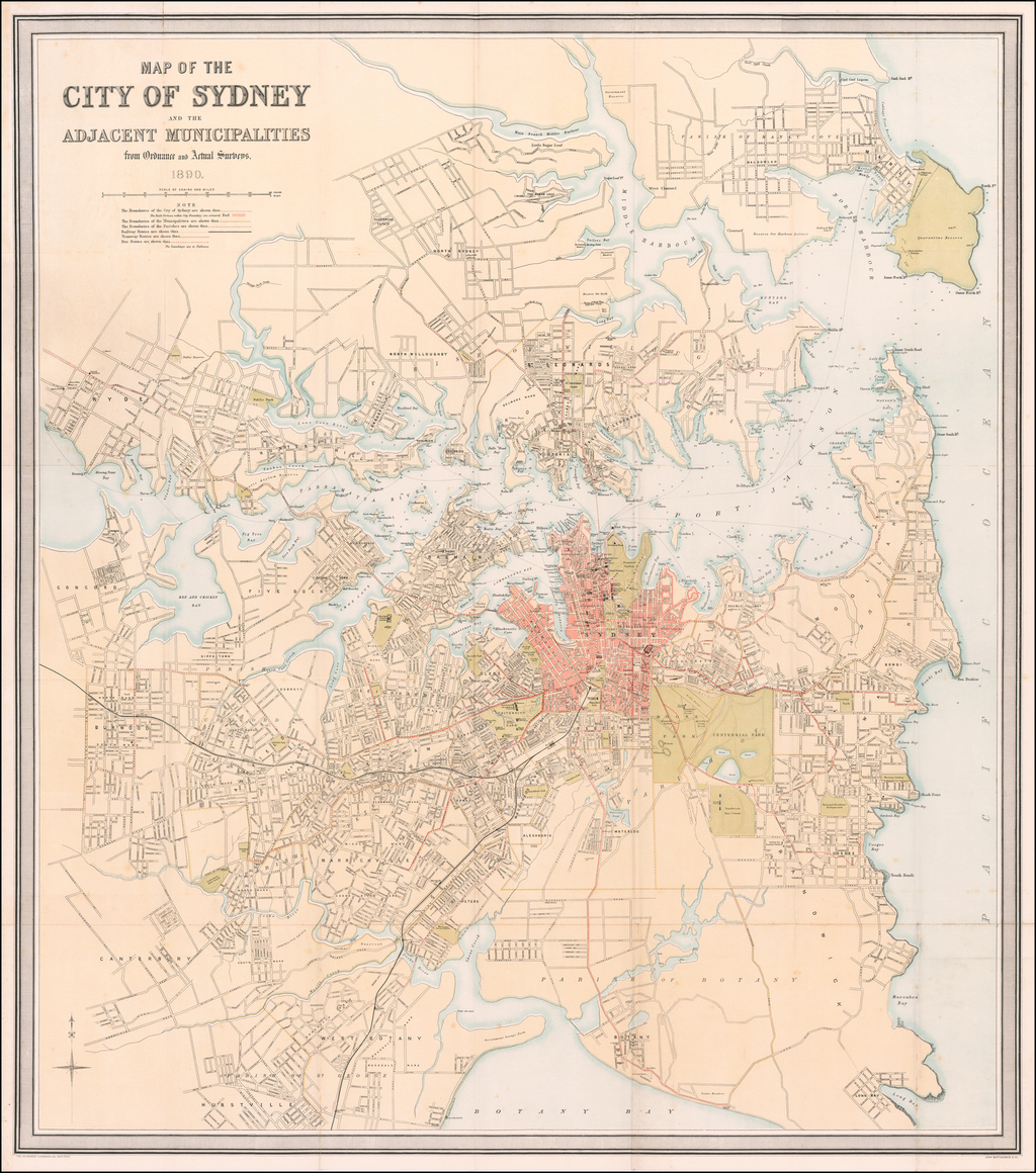 Map of The City of Sydney and the Adjacent Municipalities from Ordnance and Actual Surveys.  1890. By John Bartholomew