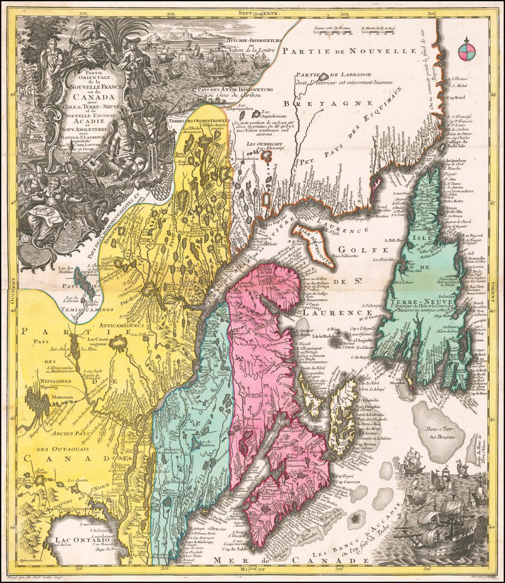 Partie Orientale de la Nouvelle France ou du Canada avec L'Isle de Terre-Neuve et de Nouvelle Escosse Acadie et Nouv. Angleterre avec Fleuve de St. Laurence . . . By Tobias Conrad Lotter
