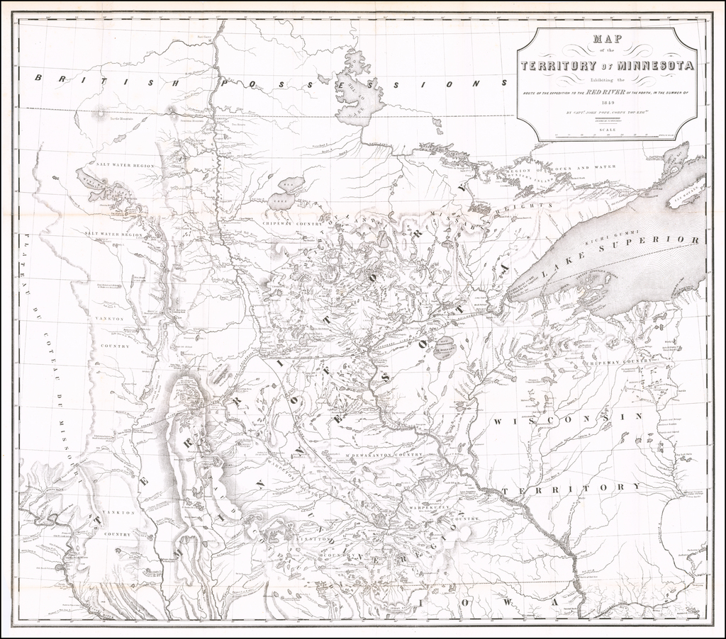 Map of the Territory of Minnesota Exhibiting the Route of the Expedition To The Red River of the North, In The Summer of 1849 By John Pope