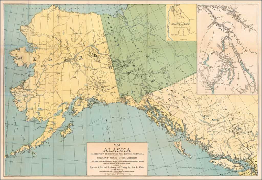 Map of Alaska Northwest Territories and British Columbia showing all the Recent Gold Discoveries also Proposed Transportation Lines From Seattle and Puget Sound Compiled From The Latest Official Sources Published By Lowman & Hanford Stationary and Printing Company  Seattle Washington 1897 . . . By Lowman & Hanford Stationery & Printing Company