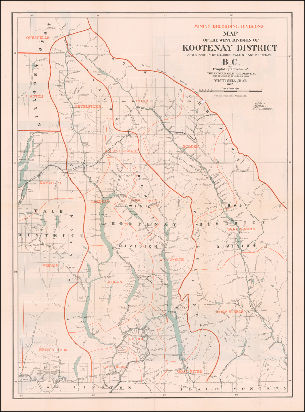 Map of the West Division of Kootenay District and a portion of Lillooet, Yale & East Kootenay, B. C.  Compiled by Direction of The Honourable G.B. Martin Chief Commissioner of Lands and Works  . . . 1897 (with) Map of the Klondyke, Cassiar, Omineca and Cariboo Gold Fields Shewing Routes (and)  Sketch Map of the Southern Portion of British Columbia . . . 1897 By Department of Lands and Works